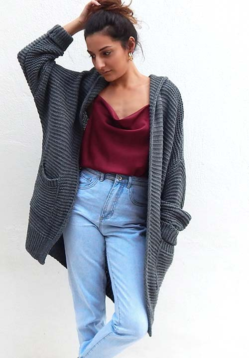 Hooded Knit Cardi
