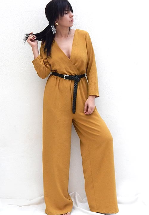 Fallen Leaves Mustard Jumpsuit