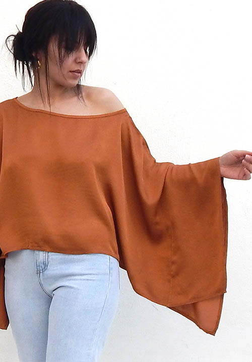 Satin Rust Blouse