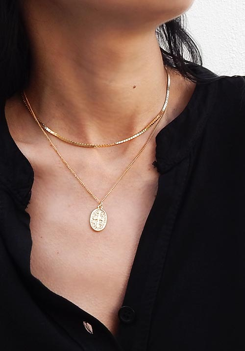 Oval Cross Necklace Set
