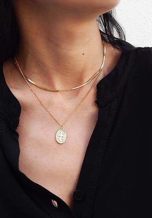 Oval Cross Necklace Set