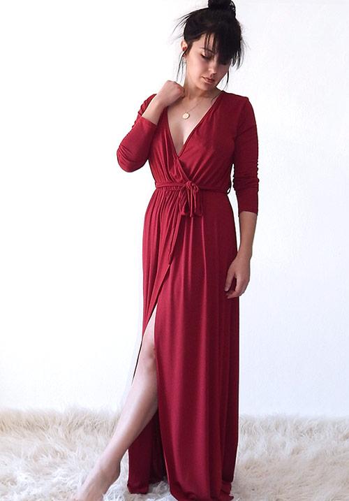 Whimsical Bordeaux Dress