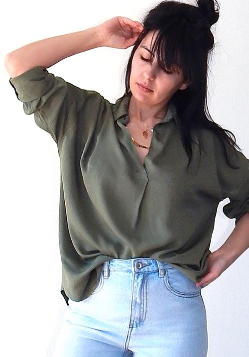 Jasmine Khaki Blouse