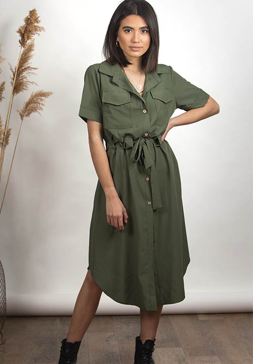 Hunt Me Khaki Dress