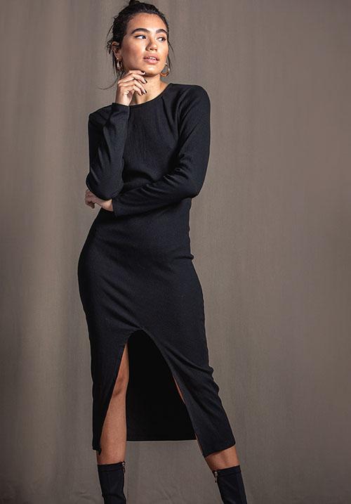 Split Black Dress