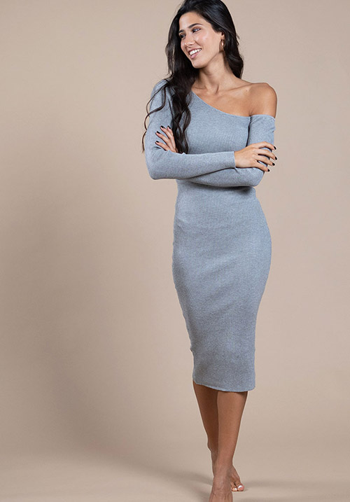 Caramel Grey Dress