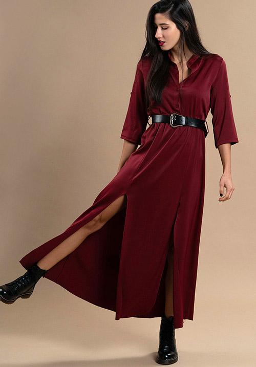 Button Up Wine Dress