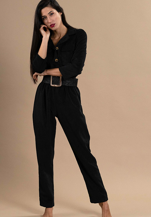 Corduroy Black Jumpsuit