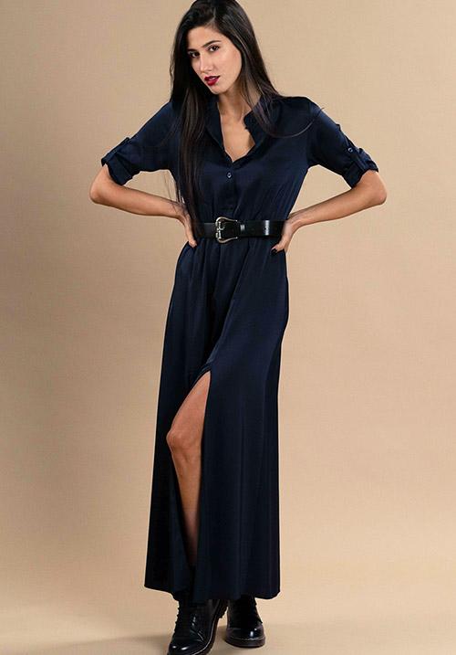 Button Up Midnight Blue Dress