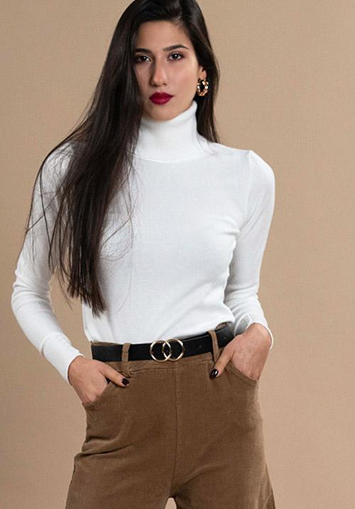 Turtleneck White Knit