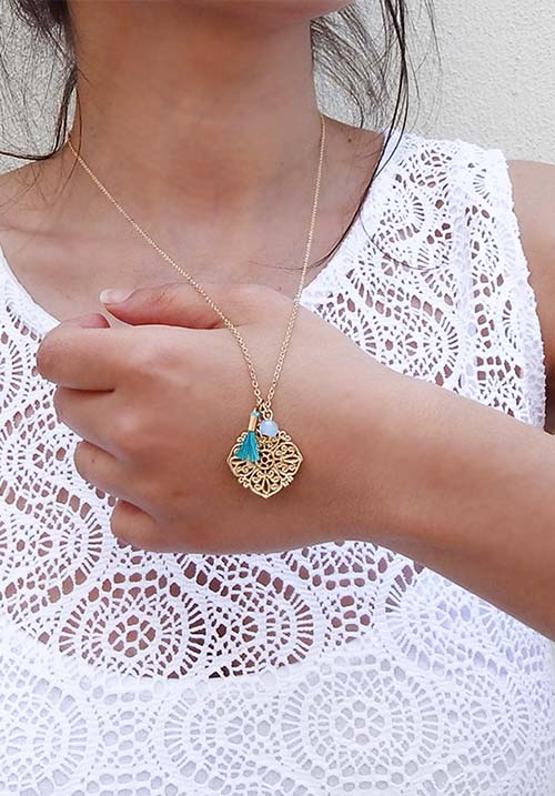 Gold & Teal Pendant (SOLD OUT)