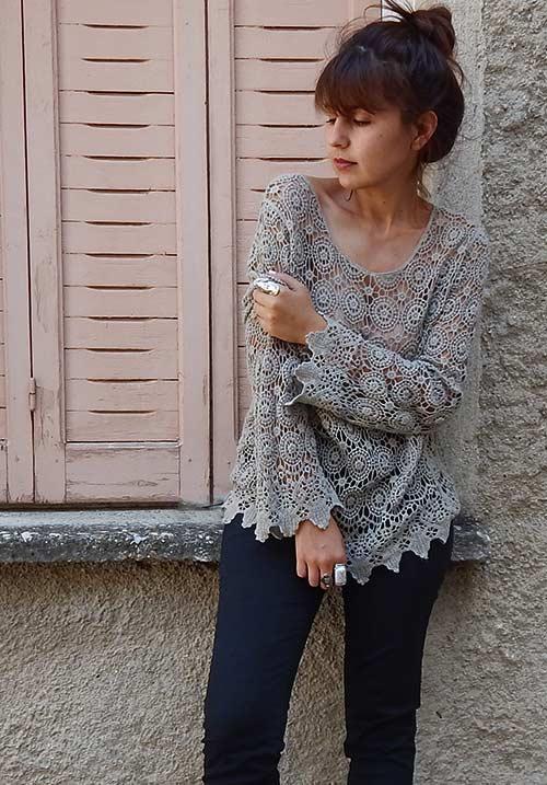The Crochet Khaki Blouse
