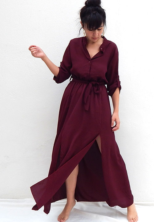 Mindtrap Dark Wine Dress (SOLD OUT)