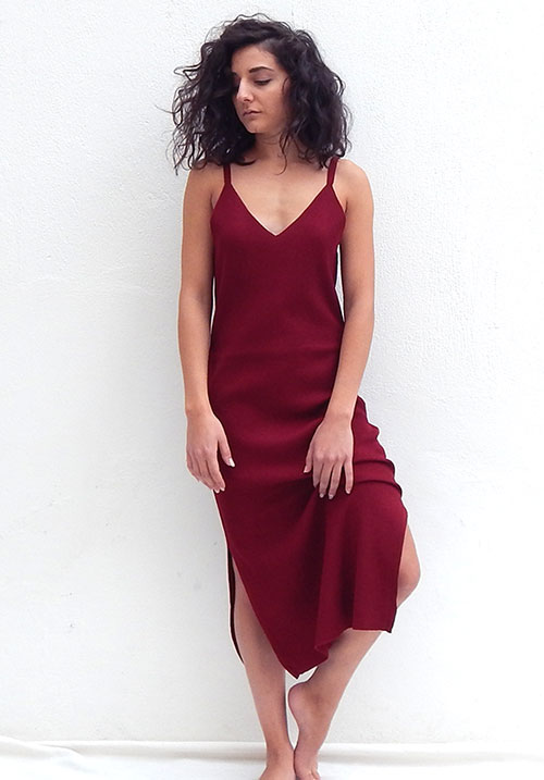 Drum Roll Bordeaux Dress