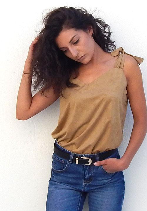 Suede Feel Tan Top