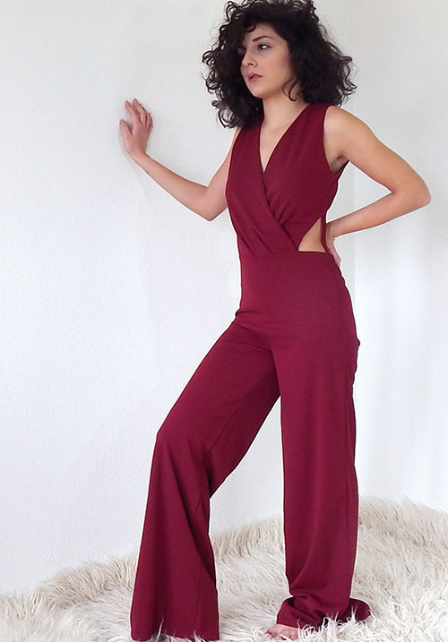 A Kiss n' Tell Bordeaux Jumpsuit