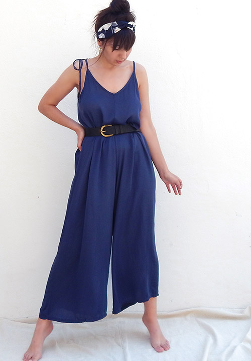 Island Hopper Cropped Blue Jumpsuit (1 LEFT)