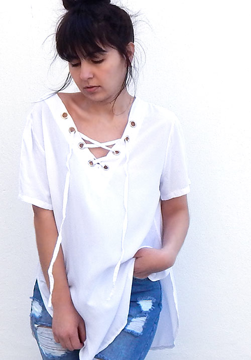 Behind Lace Up White Blouse