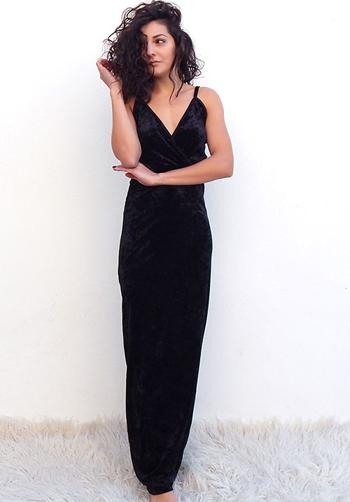 Crushed Velvet Black Dress