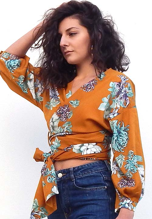 Wildflower Mustard Wrap Blouse