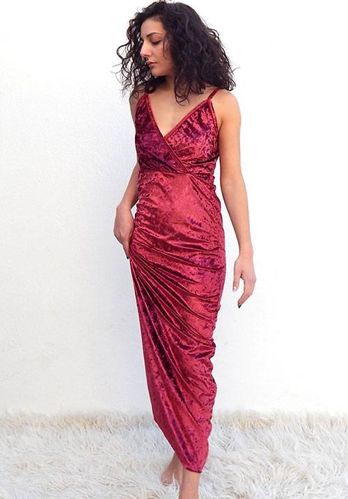 Crushed Velvet Bordeaux Dress