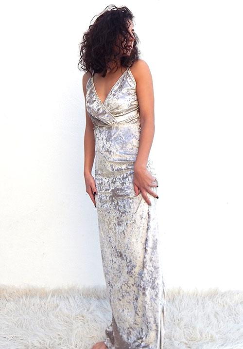 Crushed Velvet Gold Dress