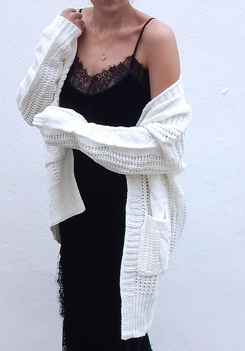 Cable Oversized White Cardi