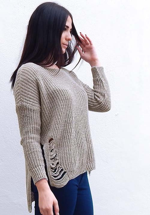 Chunky Ripped Taupe Knit (1 LEFT)