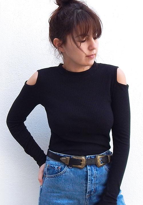 Cold Shoulder Black Blouse (SOLD OUT)