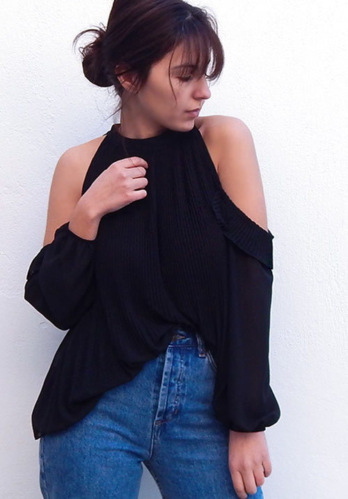 Pleated Shoulders Black Blouse (SOLD OUT)