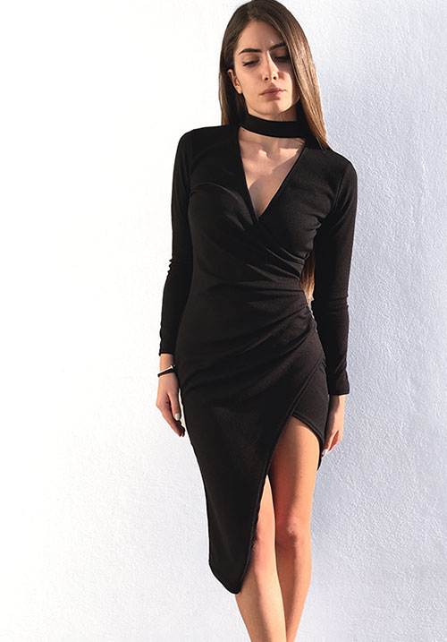 A Choker Wrap Dress