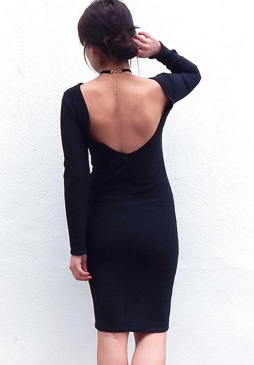 Black Skin Midi Dress