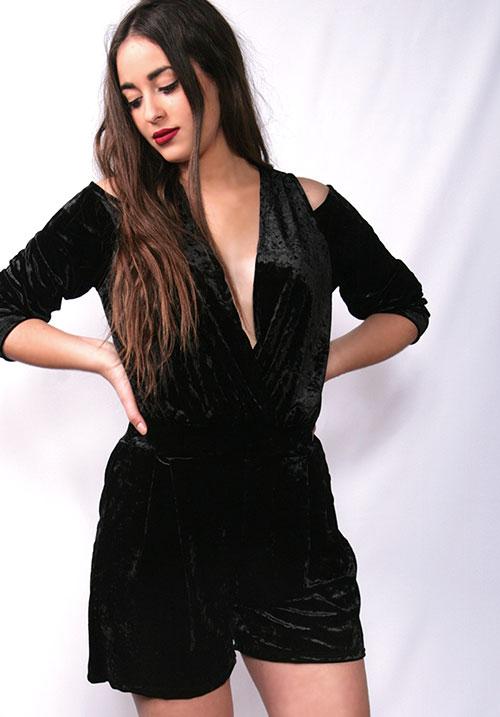 Velvet Lady Black Romper