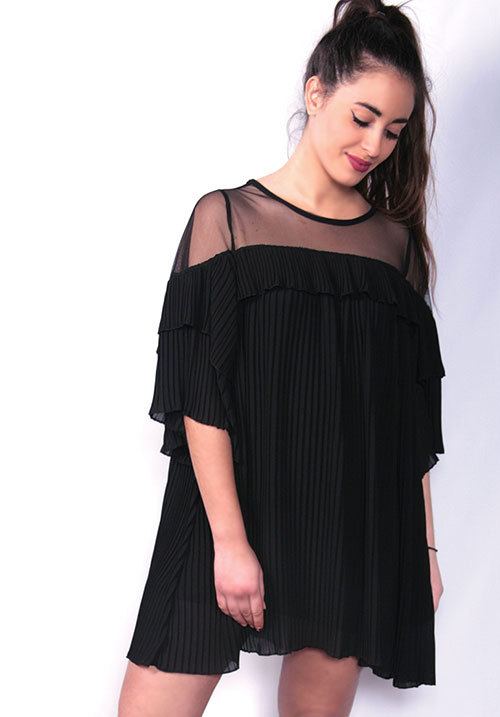 Wiggly Pleated Black Dress