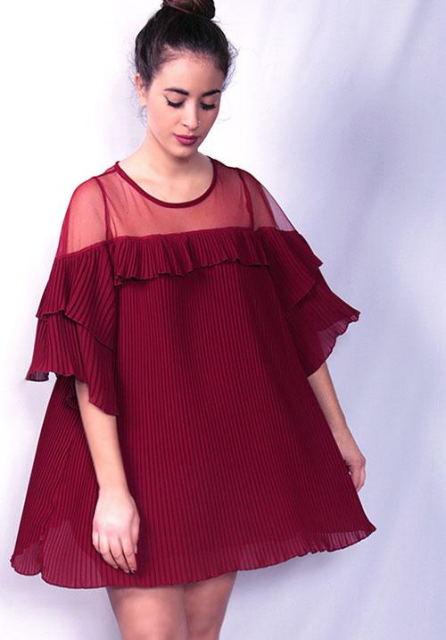 Wiggly Pleated Wine Dress