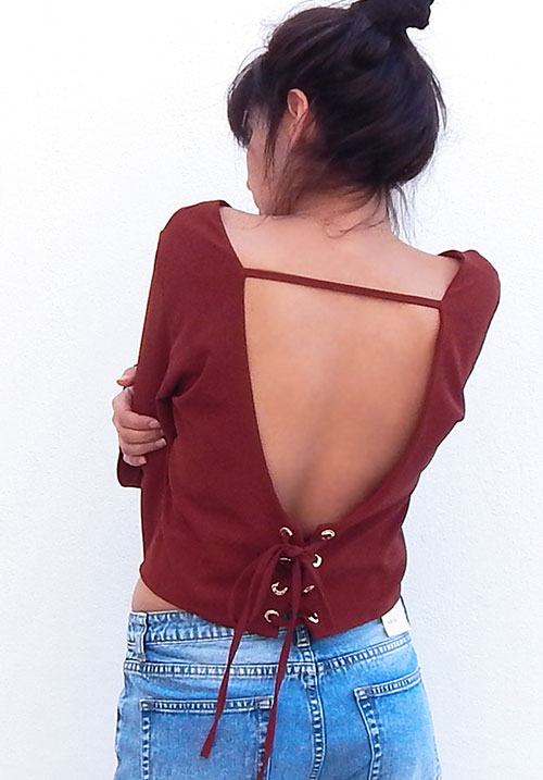 Exposed Tan Blouse