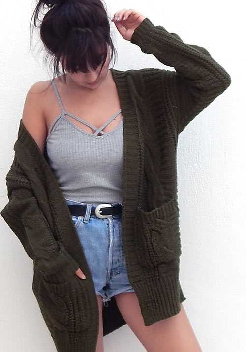Cable Oversized Khaki Cardi (SOLD OUT)