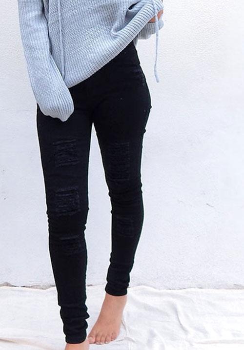 In Distress Black Jeans